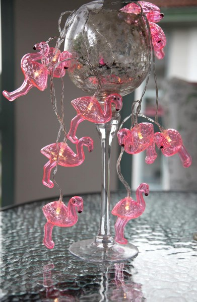 "LED-Lichterkette ""Flamingo"" - 10 pinke Flamingos mit warmweißer LED - Batterie - Timer"