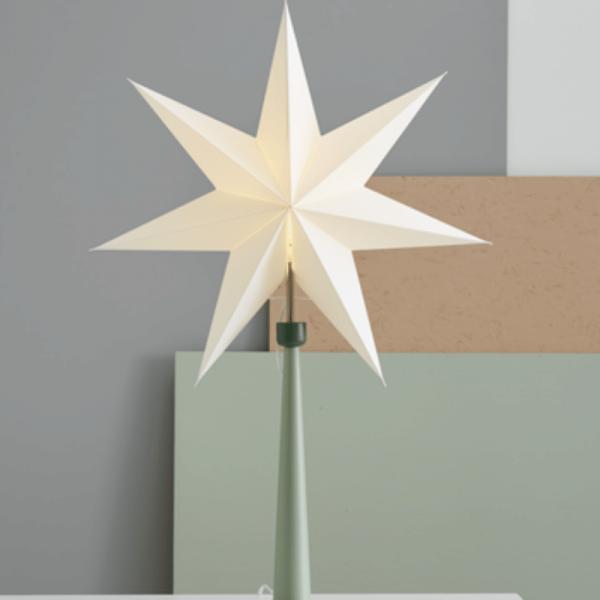 "Papierstern ""Paint Greenway"" - 7-zackig - Ø 54cm - stehend - E14 Fassung - inkl. Kabel - grün"