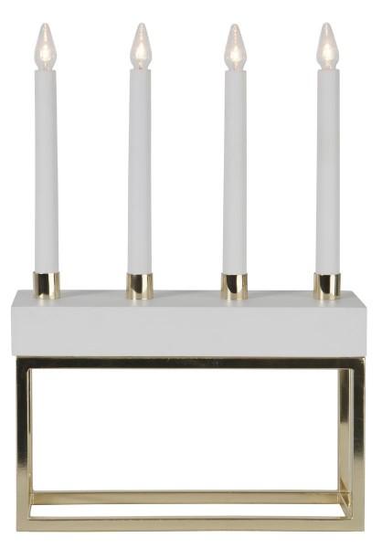"""LED-Fensterleuchter """"Framy"""" - 4flammig - warmweiße LEDs - H: 40cm - Schalter - Weiß/Gold"""