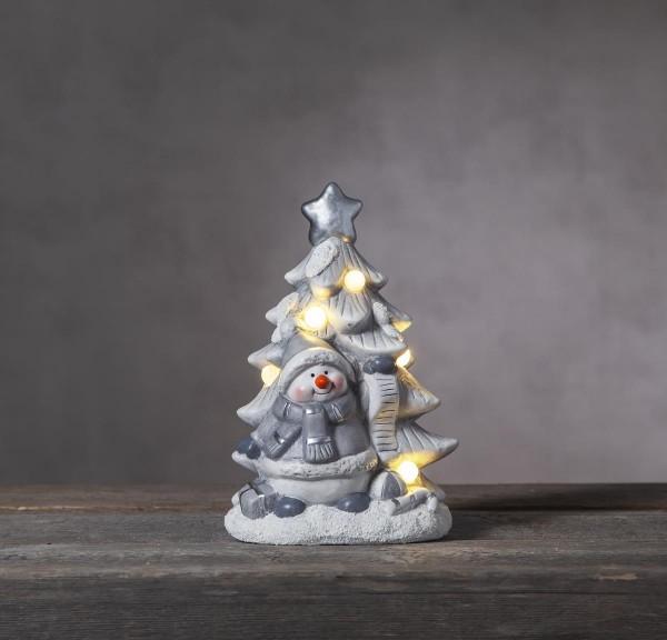 """LED-Keramik-Figur """"Friends""""- Schneemann mit Weihnachtsbaum - 5 warmweiße LEDs - ↑23cm"""