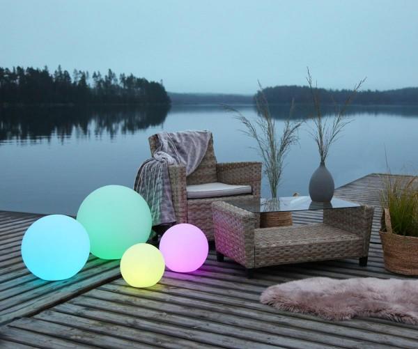 Leuchtobjekt outdoor KUGEL 30cm mit E27 Fassung - warmweißes 4W Leuchtmittel