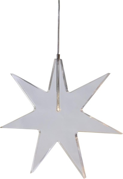 "LED-Acrylstern ""Karla"" Farbe : transparent, 1 warm white LED ca. 25 cm x 25 cm, mit Trafo Vierfarb-Karton"
