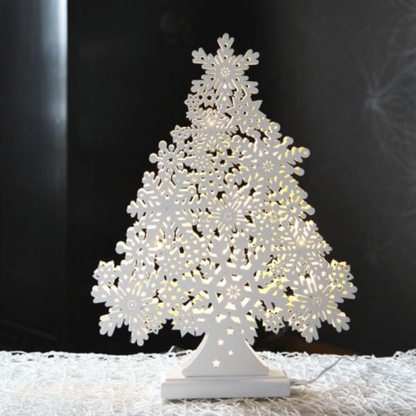 "LED-Fensterleuchter ""Snowflake Tree"" - 11 warmweiße LEDs - L: 35cm, H: 47cm - Indoor - weiß"