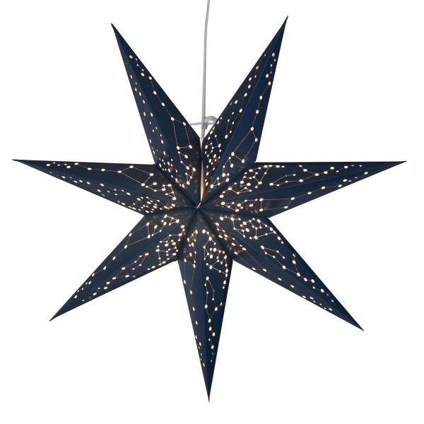 """Papierstern """"Galaxy"""" - mit Sternenbildern - hängend - 7-zackig - Ø 60 cm - inkl. Kabel - blau"""