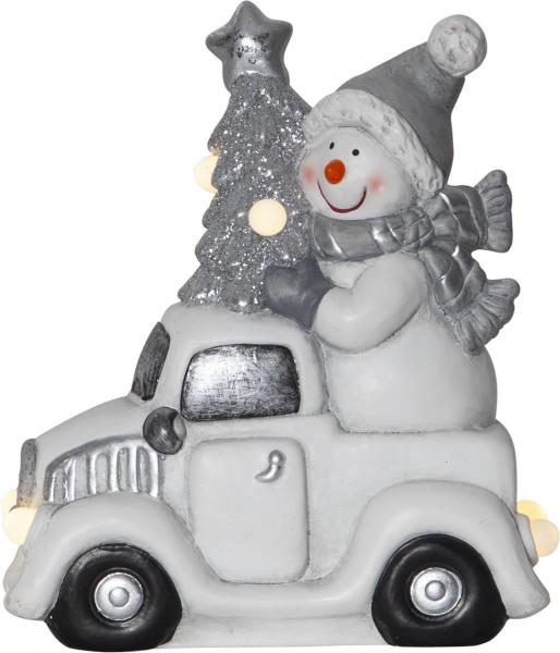 """LED-Keramik-Figur """"Friends"""" - Schneemann auf Auto - 6 warmweiße LEDs - ↑23cm"""