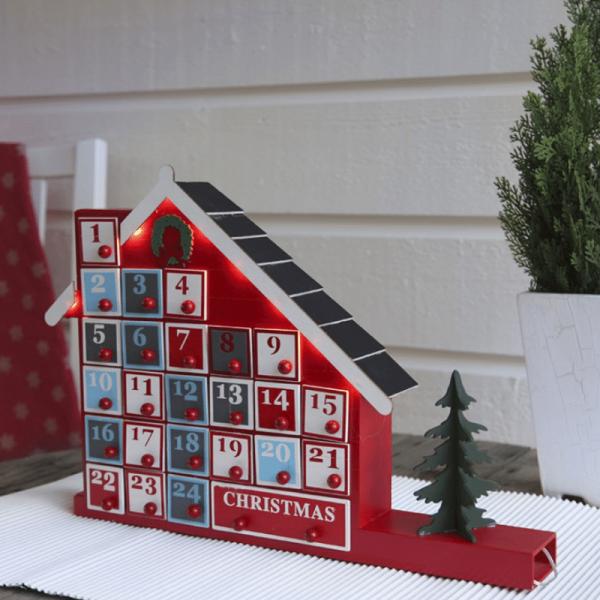 """LED Adventskalender """"Yuletide"""" - 24 Schubladen in einem Holzkästchen - 8 warmweiße LED - rot/weiß"""