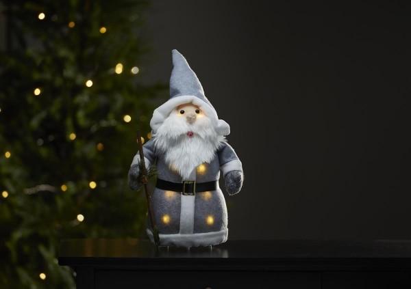 """LED-Stoff-Figur """"Joylight"""" - Weihnachtsmann - graue Mütze & Schal - 8 warmweiße LED - ↑38cm"""