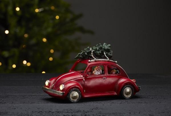 "LED-Weihnachtszene ""Merryville"" - Santa im Auto - 3 bunte LEDs - ↑14,5cm"