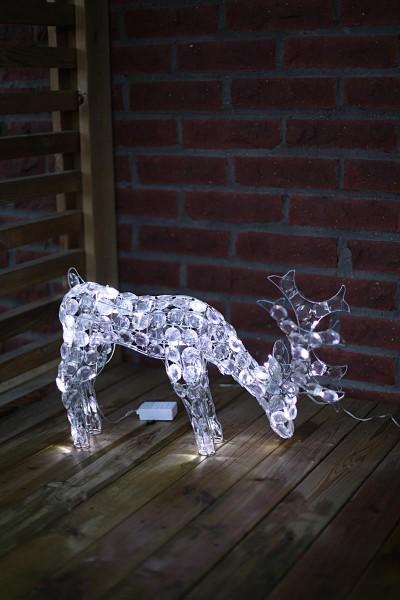 """LED-Acryl-Rentier """"Prancer"""" - klare Edelsteine - 40 kaltweiße LEDs - H: 34cm - für Innen und Außen"""