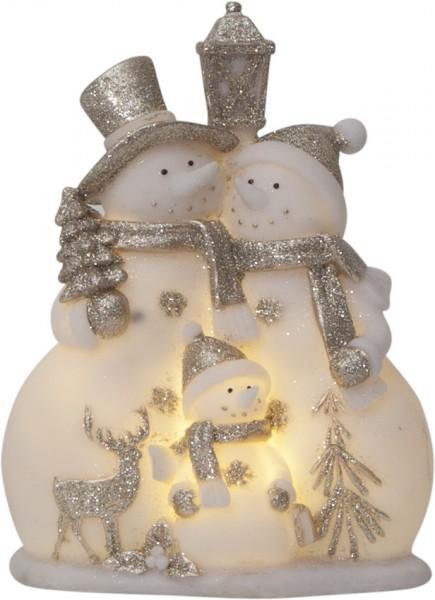 "LED-Figur ""Buddy"" - Schneemänner - weiss/silber - 4 warmweiße LEDs - ↑22cm"