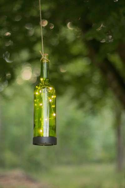 LED-Solar-Flaschenpost grün - mit 10 warmweißen LEDs - H: 31cm - D: 7,5cm - Dämmerungssensor