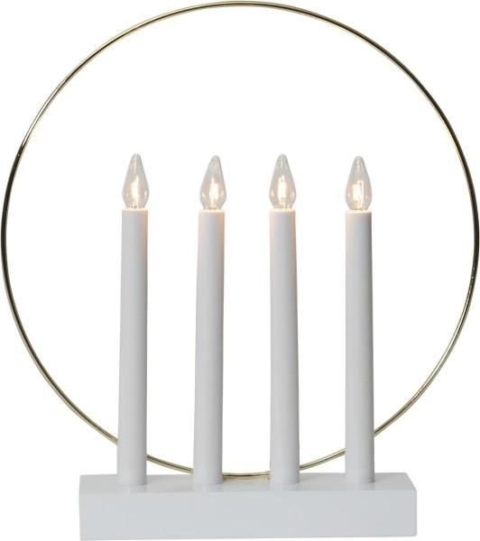 """Fensterleuchter """"Glossy Kreis"""" - 4flammig - warmweiße Glühlampen - H: 35cm - Schalter - Weiß/Gold"""