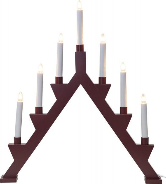 "Fensterleuchter ""Zack"" - 7flammig - 7 warmweiße Glühlampen - L: 47cm, H: 53cm - Holz - Rot"