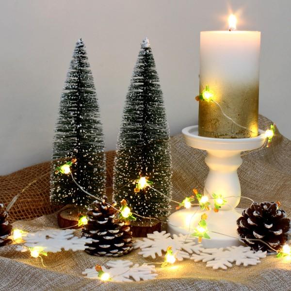"""LED Drahtlichterkette """"Tannenbaum"""" - 20 warmweiße LED - silberner Draht - L: 1,9m - Batteriebetrieb"""