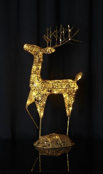 """LED-Rentier mit Pailletten,""""Sequini"""" - 40 warmweiße LEDs - goldene Pailletten - H: 68cm - outdoor"""