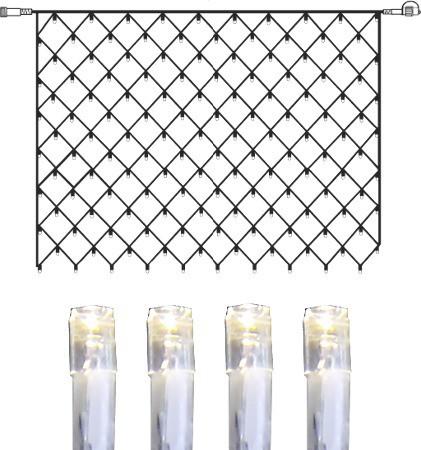 System DECOR | LED-Lichternetz | koppelbar | 2x1,5m | transparentes Kabel | 100 daylight LEDs