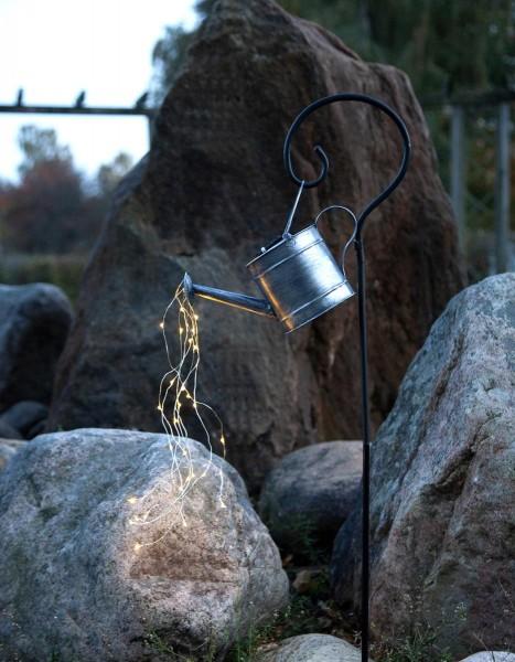 LED-Solar-Lichtgießkanne zink - 28 warmweiße LEDs - H: 80cm - Dämmerungssensor - outdoor