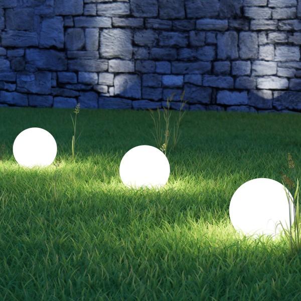LED Solar Kugellampe - 4 warmweiße LED - H: 52cm D: 20cm - inkl. Erdspieß