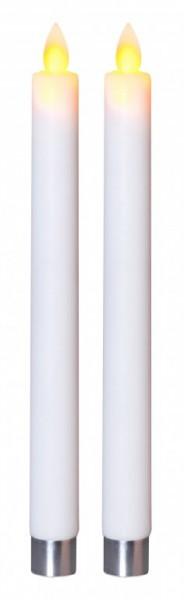 LED-Stabkerze | Echtwachs | Glim | flackernd | Timer | ↑24cm | 2er Set | Weiß