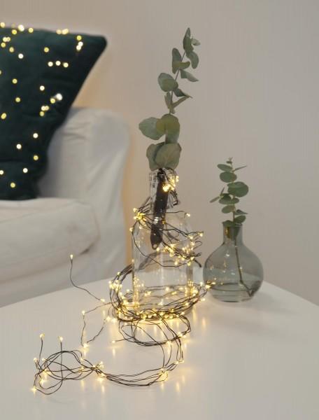 """LED-Lichterbouquet """"Dew Drops"""" 125 x WW LEDs - 10 schwarze Drähte - 1,4m  - inkl. Trafo"""
