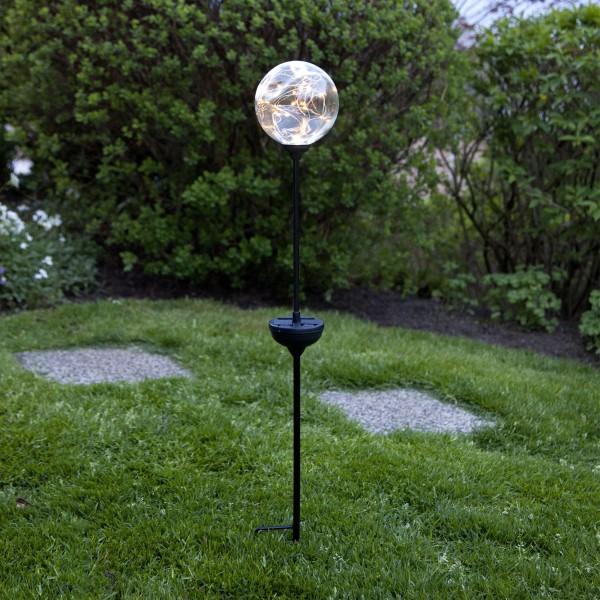 LED Solarstab GLORY - Kugel mit Dew Drop Lichterkette - H: 70cm - D: 12cm - Dämmerungssensor
