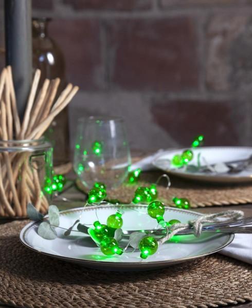 """LED-Lichterkette """"Mini Glow"""" - 20 kleine grüne Birnen - warmweiße LEDs - 1,6m - Batterie - Timer - outdoor"""