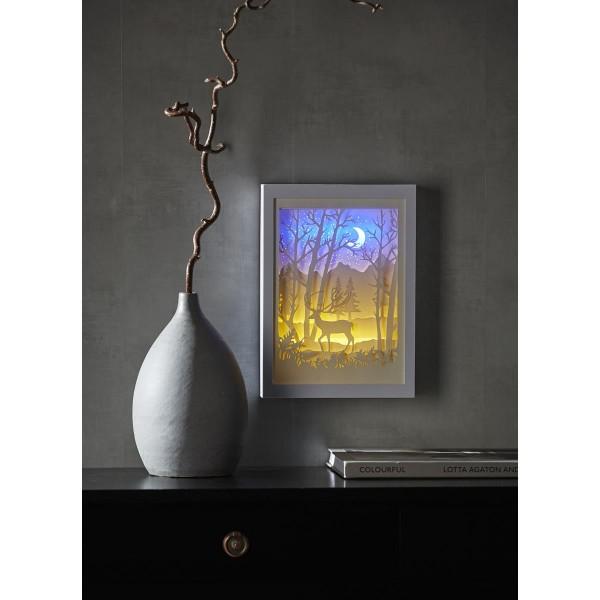 "LED-Bild ""Scenery""- Hirsch - Material: Kunststoff - weiss - 16 LED - mit Batterie oder Trafo - Timer"