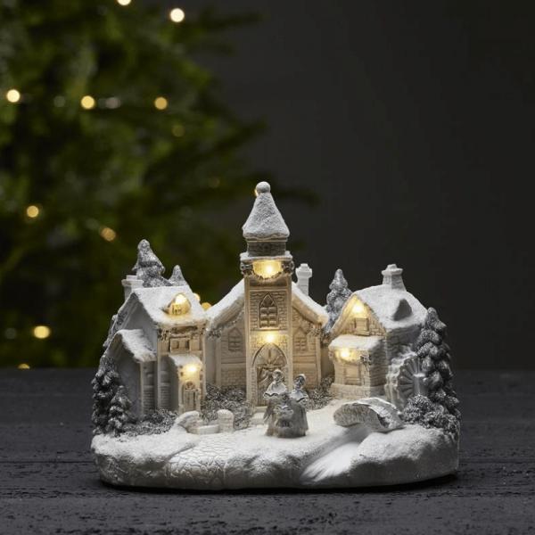 "LED-Kirche ""Churchville"" - 6 warmweiße LED - H: 18cm - Batteriebetrieb - Timer - weiß"