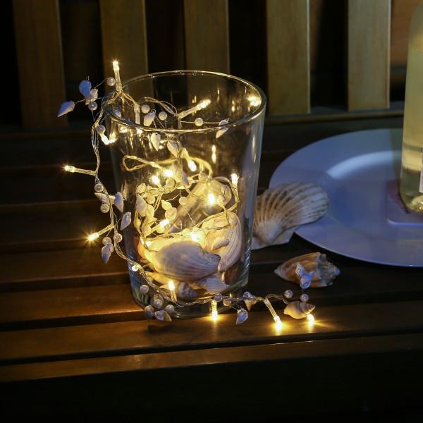 LED Lichterkette Muscheln und Perlen - 20 warmweiße LED - Batterie - L: 98cm