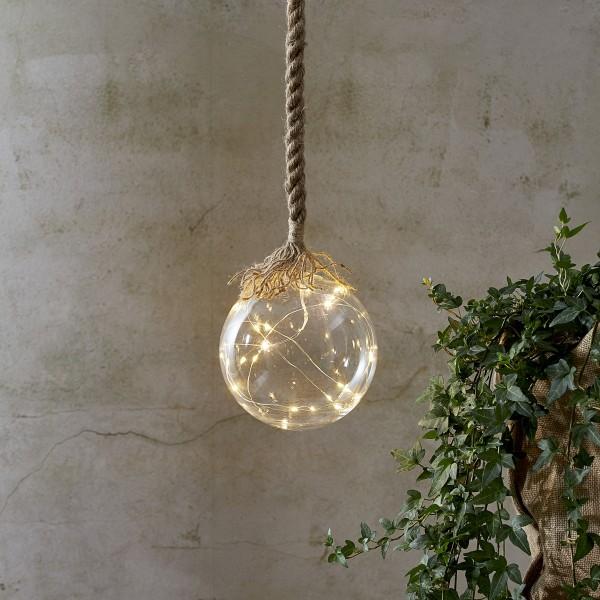 LED Glaskugel JUTTA - mit Juteseil - 15 warmweiße LED am Draht - L: 200cm - D: 15cm - klar