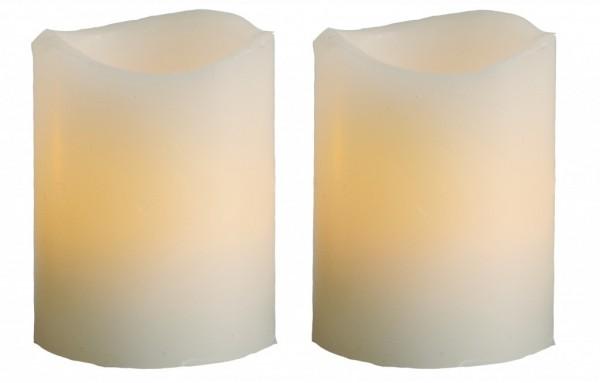 LED-Kerze   Echtwachs   Wave   flackernde LED   Timer   ↑6cm   2er Set   Creme