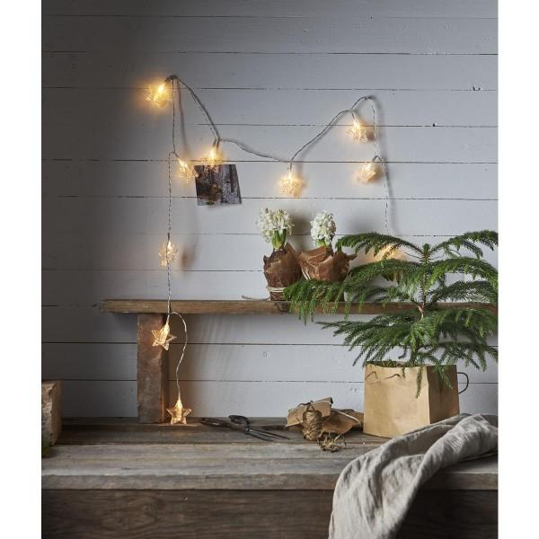 """LED Clip Lichterkette """"Stern"""" - 10 Sternklammern für Fotos - warmweiße LED - 1,8m - Batterie"""