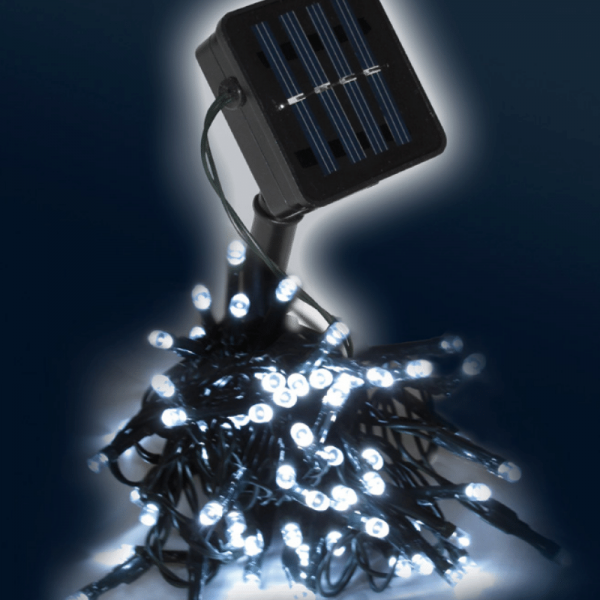 LED SOLAR Lichterkette - 100x hellweiße LEDs - In&Outdoor - grünes Kabel - kaltweiße LED - L: 10