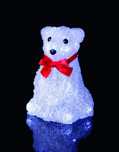 """LED-Leuchtbär """"Crystal Polarbär"""" - 10 kaltweiße LED - sitzend - klares Acryl - batteriebetrieben"""