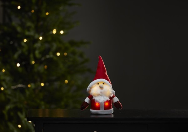 """LED-Stoff-Figur """"Joylight"""" - Weihnachtsmann - rote Mütze & Schal - 4 warmweiße LED - ↑24c"""