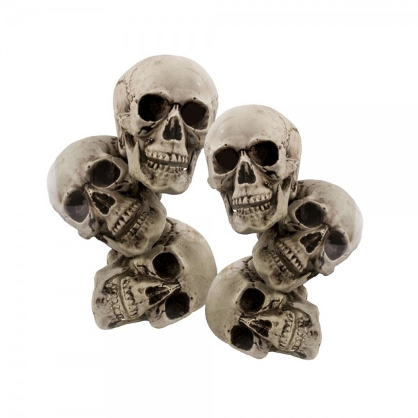 6 Schädel im Set - Totenköpfe - 12cm - Grusel Halloween Dekoration