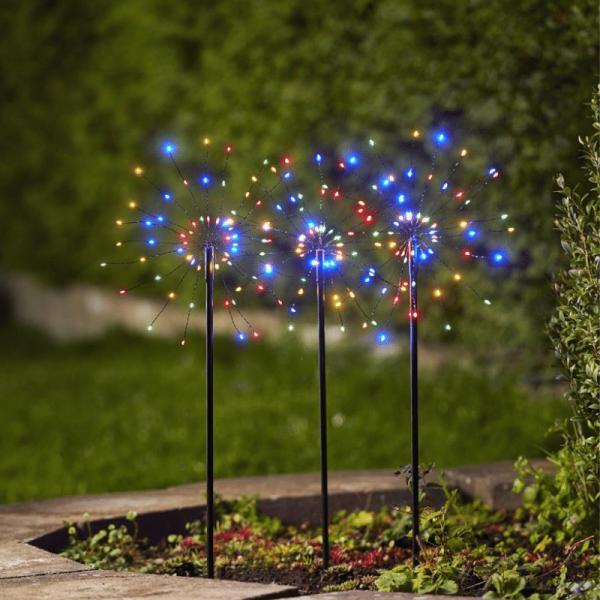 """LED Dekostäbe """"Firework"""" - H: 65cm - je 60 bunte LED - inkl. Trafo - outdoor - schwarz - 3er Set"""