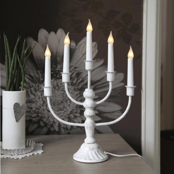 Kerzenleuchter Romana - 5-flammig - warmweiße Glühlampen - H: 39cm - Schalter - antik weiss