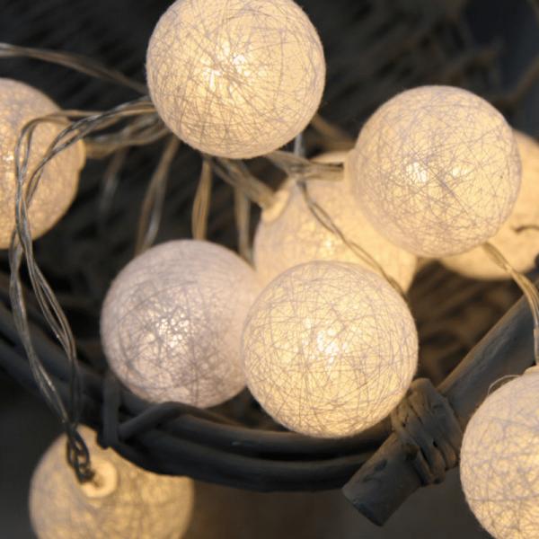 LED-Lichterkette - Sisal Line Indoor - Batteriebetrieb - Timer - Ø4cm - 2,10m - 10x Warmweiß - Weiß