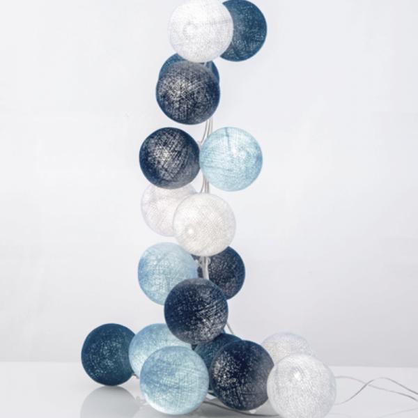 good moods* BLAUE LAGUNE - Ball-Lichterkette mit 35 Stoffkugeln - 35 warmweiße LEDs - Geschenkkarton