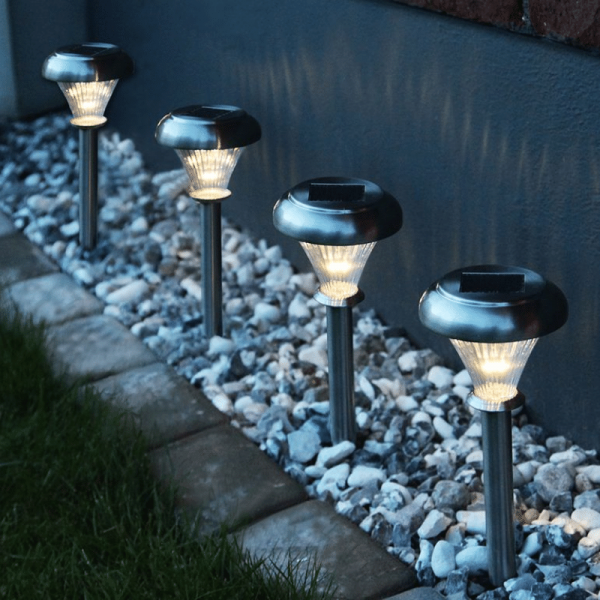 LED-Solar-Laternen 6er Set →11 x ↑42cm - Warmweiß - Edelstahl - Dämmerungssensor