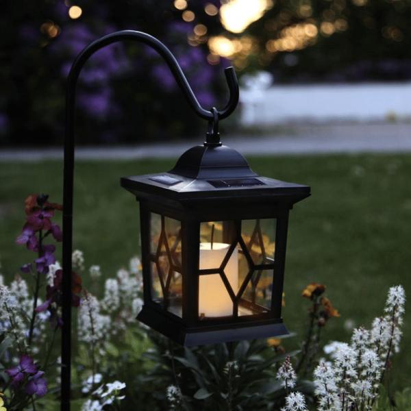 "LED Solar Laterne ""Milan"" - inkl. Kerze - flackernde LED - Lichtsensor - H: 50cm - schwarz"