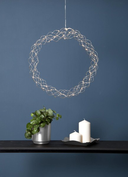 "LED-Kranz ""Curly"" - 50 warmweiße LED - D: 45cm - Material: Metall - silber"