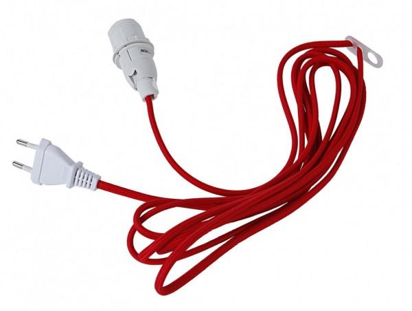 Lampenhalterung für Leuchtsterne - E14 Fassung - textilummanteltes Kabel - 3,50m - rotes Kabel
