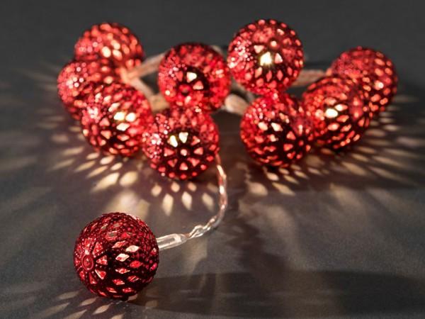 LED-Dekolichterkette - 0,9m - 10x Warmweiß - Ø 2,5cm - Rot - transparentes Kabel - Batteriebetrieb