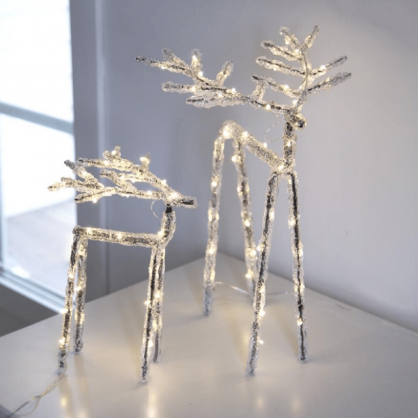 "LED Acryl Design-Rentier ""Icy Deer"" - 50 warmweiße LED - H: 30cm - Timer - batteriebetrieben"