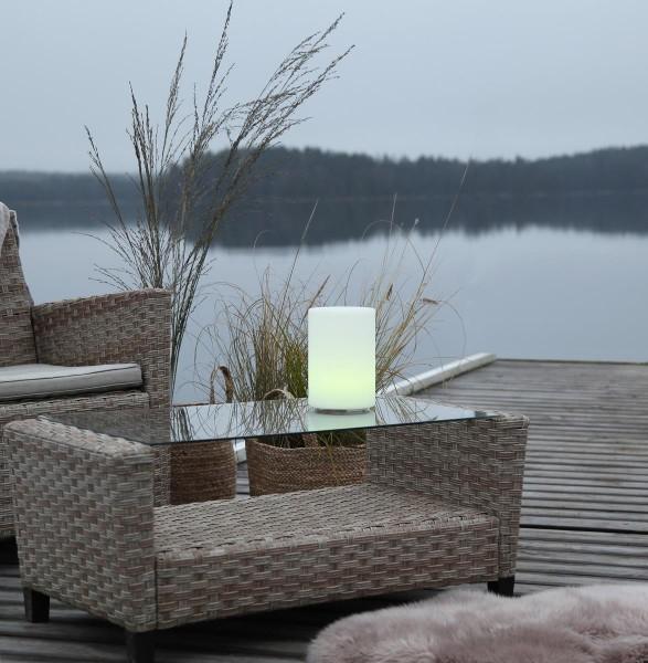 "LED-Zylinder ""Twilights"" - H: 20cm - D: 14cm - RGB Wechsel/feste Farbe - Fernbedienung - Aufladbar"