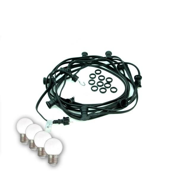 ILLU-Lichterkette BLACKY - 30m - 30xE27 - IP44 - kleine bruchfeste Tropfenlampen hellweiß SATISFIRE