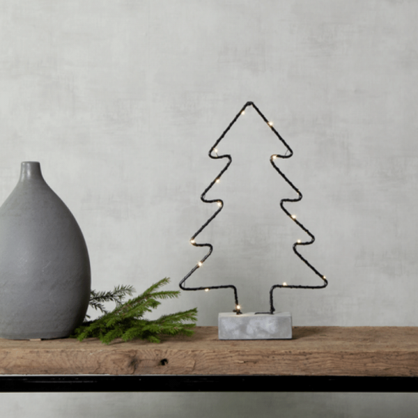 """B-Ware LED Drahtbaum """"Cemmy"""" - 15 warmweiße LEDs - H:35cm - stehend - Batteriebetrieb - schwarz/grau"""