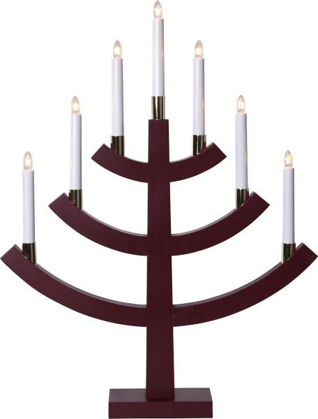 "Kerzenleuchter ""Gillian"" - 7 Arme - warmweiße Glühlampen - H: 64cm, L: 49cm - Schalter - Rot/Gold"